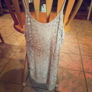 Women's Old Navy taupe, sequin semi-fitted tank